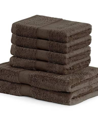 Set 2 tmavohnedých osušiek a 4 uterákov DecoKing Bamby