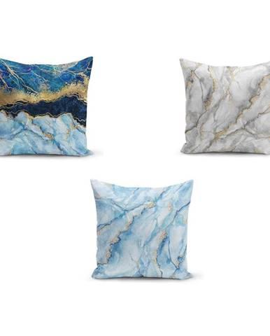 Sada 3 obliečok na vankúše Minimalist Cushion Covers Azuro Cassie, 45 x 45 cm