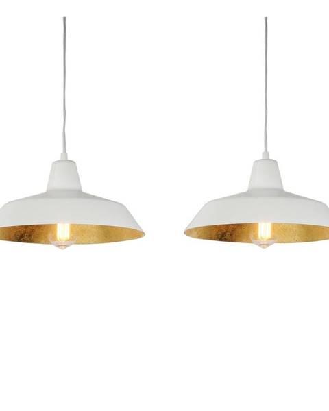 Bulb Attack Biele dvojramenné závesné svietidlo s detailmi v zlatej farbe Bulb Attack Cinco