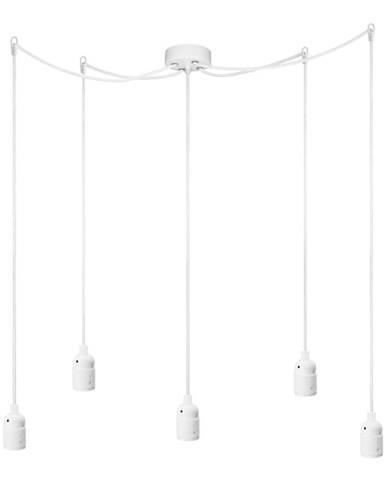 Biele závesné svietidlo s 5 káblami Bulb Attack Uno Cassie