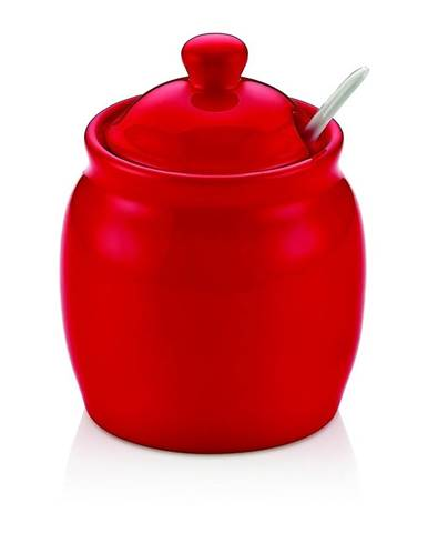 Červená porcelánová dóza na cukor s vekom Vivianos
