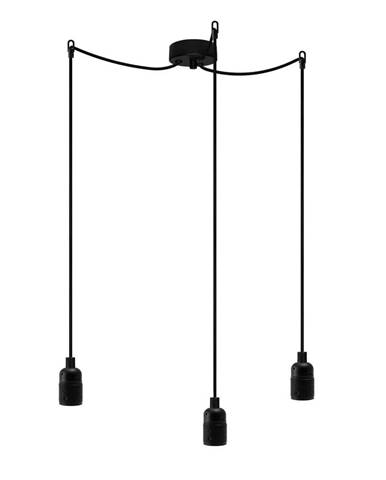 Čierne závesné svietidlo s 3 káblami Bulb Attack Uno Basic