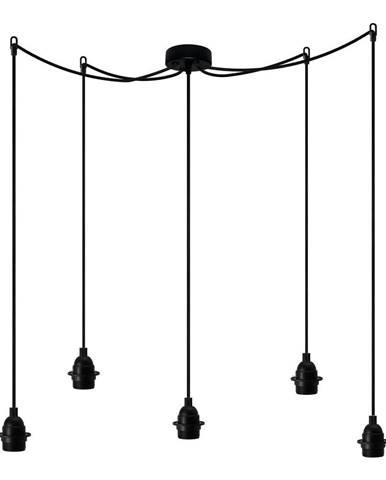 Čierne päťramenné závesné svietidlo Bulb Attack Uno Primary