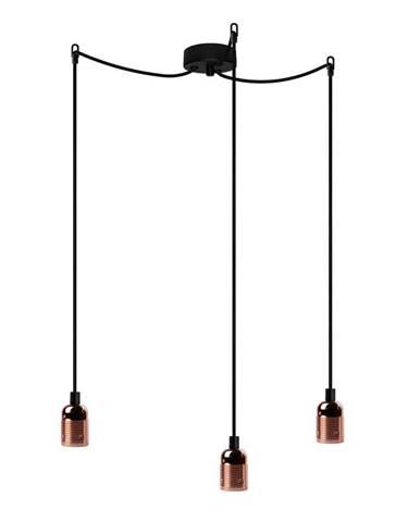 Závesné svietidlo s 3 čiernymi káblami a medenou objímkou Bulb Attack Uno Basic