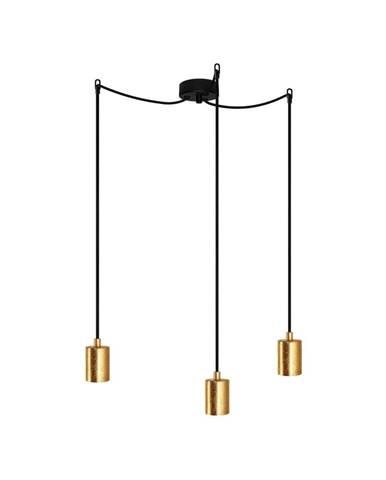 Závesné trojramenné svietidlo s detailmi v zlatej farbe Bulb Attack Cero