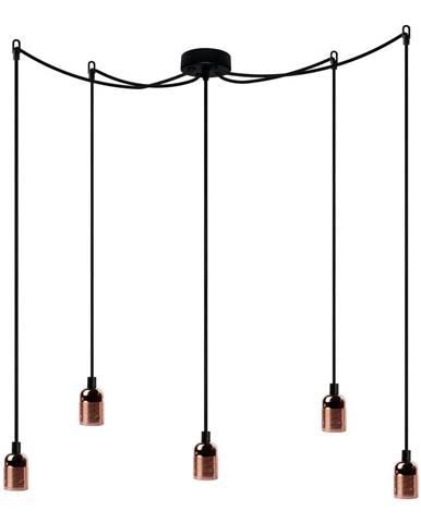 Závesné svietidlo s 5 čiernymi káblami a medenou objímkou Bulb Attack Uno Cassie