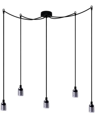 Závesné svietidlo s 5 čiernymi káblami a striebornou objímkou Bulb Attack Uno Cassie