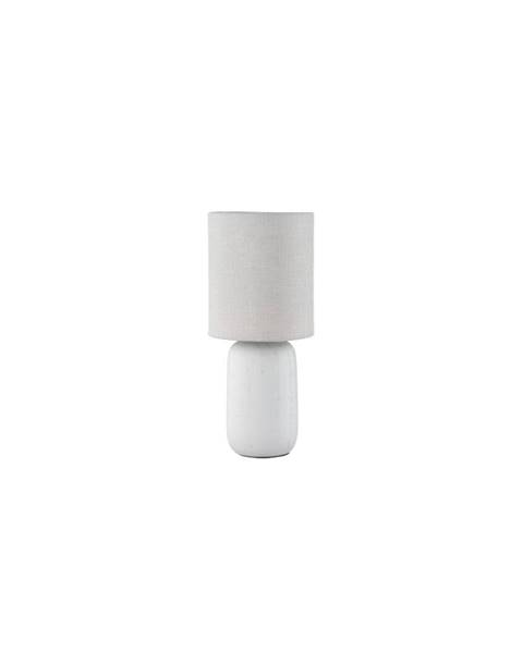 Trio Sivá stolová lampaz keramiky a tkaniny Trio Clay, výška 35 cm