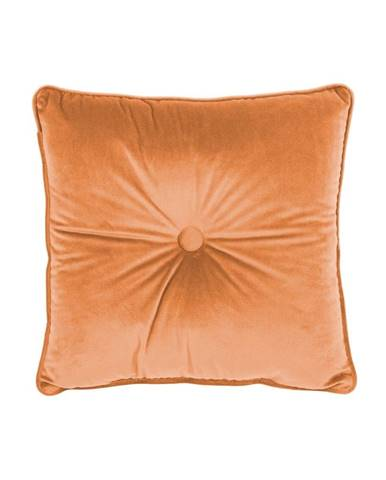Oranžový vankúš Tiseco Home Studio Velvet Button, 45 x 45 cm