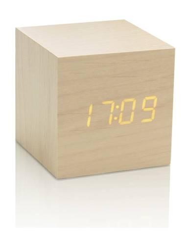 Svetlobéžový budík so žltým LED displejom Gingko Cube Click Clock