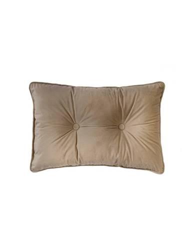 Svetlohnedý vankúš Tiseco Home Studio Velvet Button, 40 x 60 cm