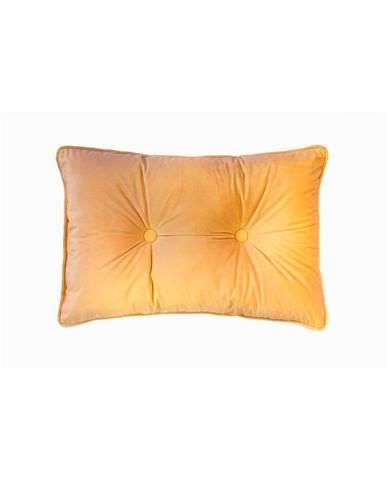 Tmavožltý vankúš Tiseco Home Studio Velvet Button, 40 x 60 cm