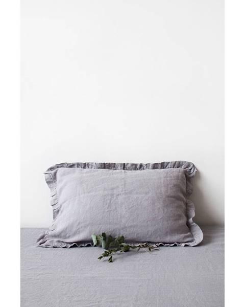 Linen Tales Svetlosivá ľanová obliečka na vankúš s riaseným lemom Linen Tales, 50 x 60 cm