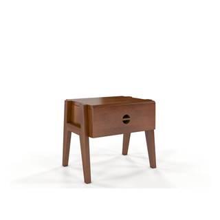 Nočný stolík z bukového dreva so zásuvkou v orechovom dekore Skandica Visby Radom