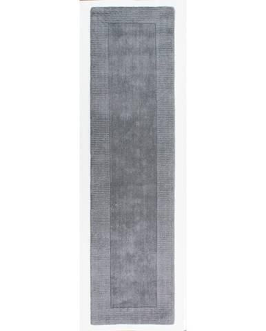 Sivý vlnený behúň Flair Rugs Tuscany Sienna Matte, 60 x 230 cm