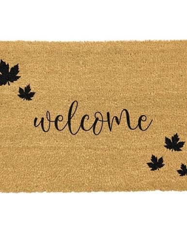 Čierna rohožka z prírodného kokosového vlákna Artsy Doormats Welcome Autumn, 40 x 60 cm