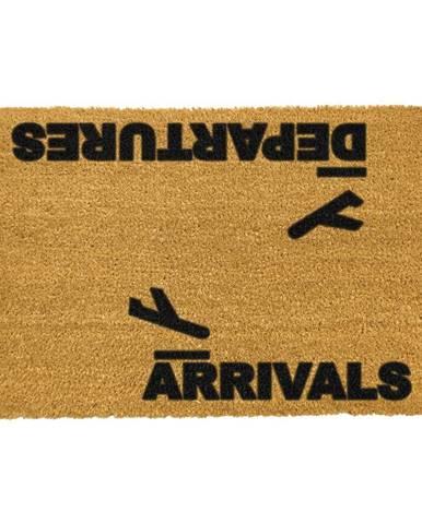 Rohožka z prírodného kokosového vlákna Artsy Doormats Arrivals and Departures, 40 x 60 cm
