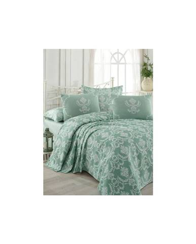 Bavlnená prikrývka na posteľ na dvojlôžko s obliečkami na vankúše a plachtou Pure, 200×235cm