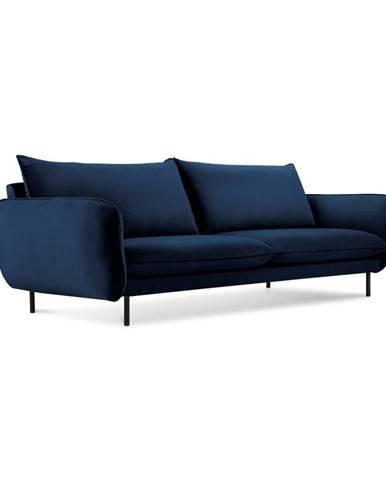 Tmavomodrá zamatová pohovka Cosmopolitan Design Vienna, 200 cm
