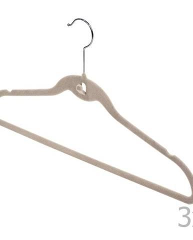 Sada 3 béžových vešiakov so zárezmi a nohavicovou tyčou Domopak Velvet
