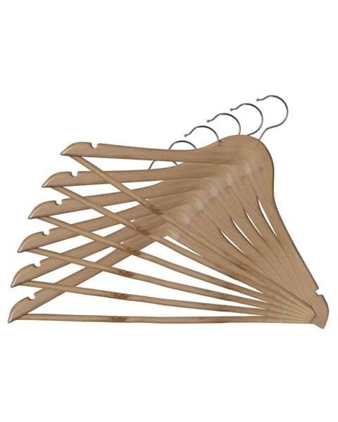 Domopak Sada 6 drevených vešiakov so zárezmi a nohavicovou tyčou Domopak Basic