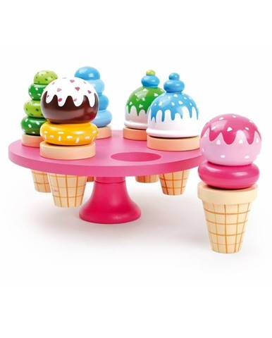 Set 6 drevených zmrzlín na hranie so stojanom Legler Waffle Ice Cream