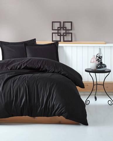 Čierne obliečky s plachtou na dvojlôžko Stripe, 200×220 cm