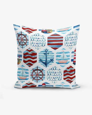 Obliečka na vankúš s prímesou bavlny Minimalist Cushion Covers Dark Red Blue See Concept Duro, 45×45 cm