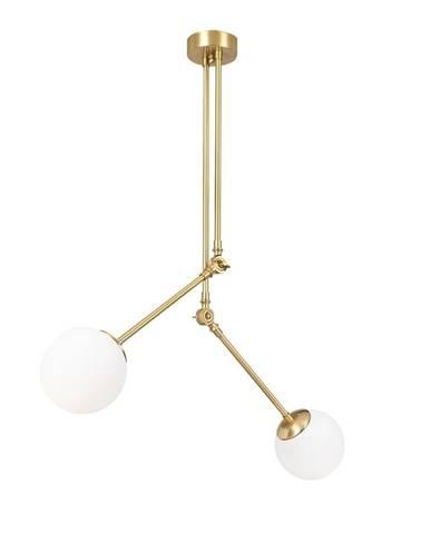 Biele kovové závesné svietidlo v zlatej farbe Opviq lights Anatoli