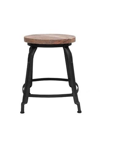 Čierna stolička so sedákom z mangového dreva LABEL51 Delhi