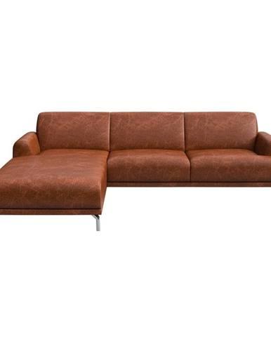 Červenohnedá kožená rohová pohovka MESONICA Puzo, ľavý roh