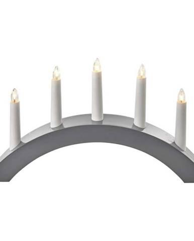 LED dekorace  Emos svícen na 5× žárovičku E10 dřevěný šedý, 40×28cm
