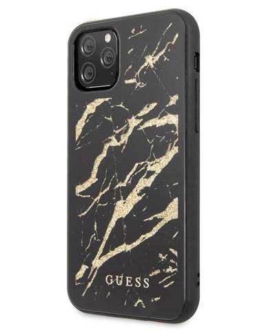 Kryt na mobil Guess Marble Glass na iPhone 11 Pro Max čierny