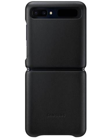 Kryt na mobil Samsung Leather Cover na Galaxy Z Flip čierny