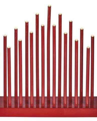 LED dekorace  Emos červený svícen, 3×AA, teplá bílá, časovač