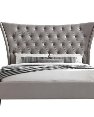 Manželská posteľ svetlohnedá/čierna 180x200 ALESIA