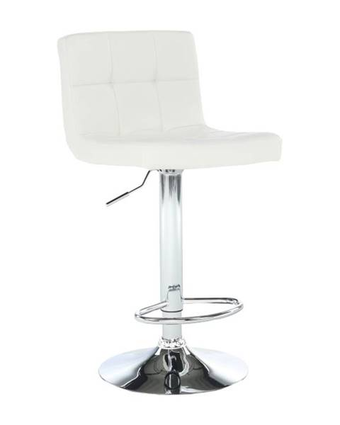 Tempo Kondela Barová stolička biela ekokoža/chróm KANDY NEW