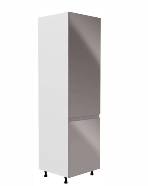 Tempo Kondela Skrinka na chladničku biela/sivá extra vysoký lesk pravá AURORA D60ZL