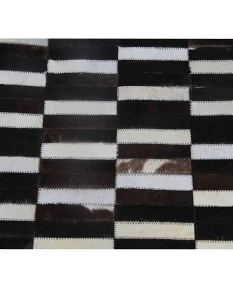 Tempo Kondela Luxusný kožený koberec  hnedá/čierna/biela patchwork 120x180 KOŽA TYP 6