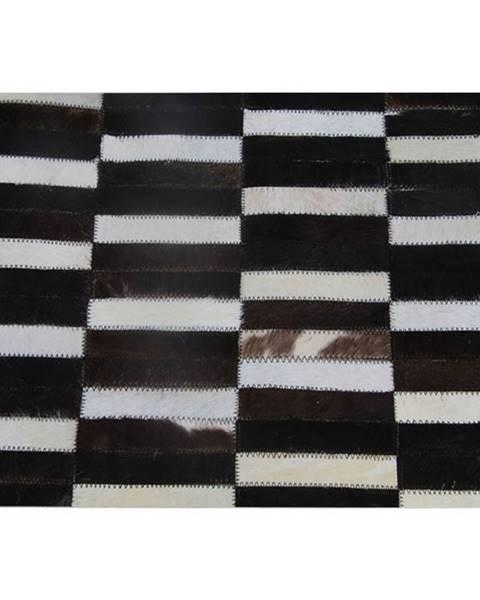 Tempo Kondela Luxusný kožený koberec  hnedá/čierna/biela patchwork 69x140 KOŽA TYP 6