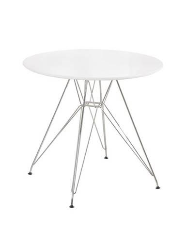 Jedálenský stôl chróm/MDF biela extra vysoký lesk HG RONDY