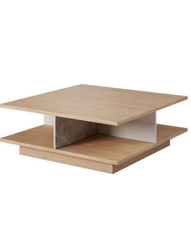 Konferenčný stolík betón/dub jantár/biely mat LAGUNA