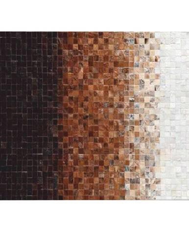 Luxusný kožený koberec biela/hnedá/čierna patchwork 70x140 KOŽA TYP 7