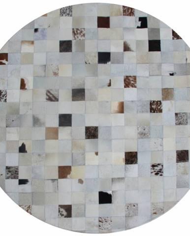 Luxusný kožený koberec biela/sivá/hnedá patchwork 200x200 KOŽA TYP 10