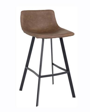 Barová stolička tmavohnedá/čierny kov FALUN