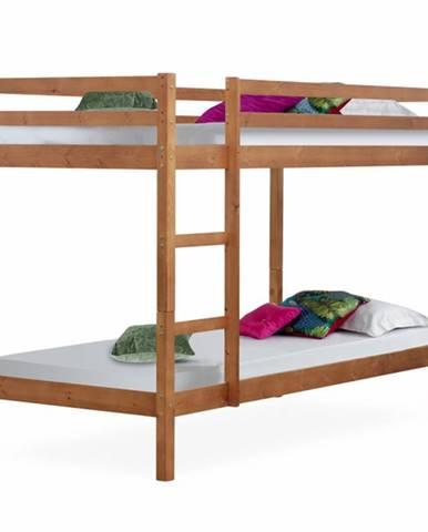 Poschodová posteľ borovicové drevo svetlohnedá VERSO