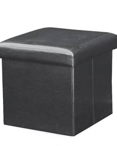 Skladací taburet ekokoža čierna TELA NEW