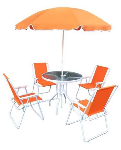 Záhradný set oranžová/biela ODELO