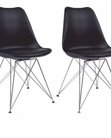 2 kusy stolička čierna/chróm METAL 2 NEW