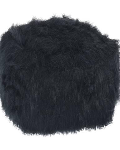 Taburet umelá kožušina čierna AZENE
